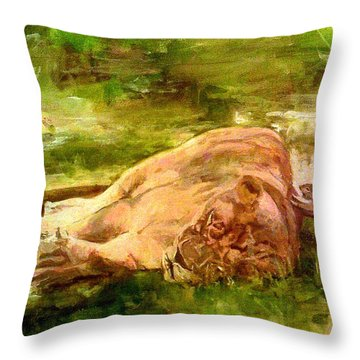 Sleeping Lionness Pushy Squirrel Throw Pillow