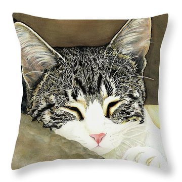 Sleeping Mia Throw Pillow by Shari Nees