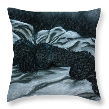 Sleeping Poodle Throw Pillow