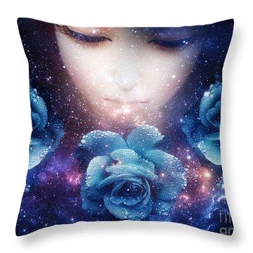 Sleeping Rose Throw Pillow by Mo T
