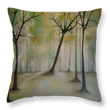 Throw Pillow featuring the painting Sleeping Trees by Tamara Bettencourt