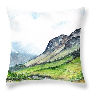 Throw Pillow featuring the painting Sleeping Valley by Heidi Kriel