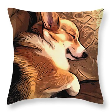 Banjo The Sleeping Welsh Corgi Throw Pillow