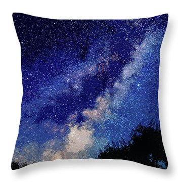 Sleeping With The Stars Throw Pillow by Andrea Mazzocchetti