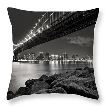 Sleepless Nights And City Lights Throw Pillow