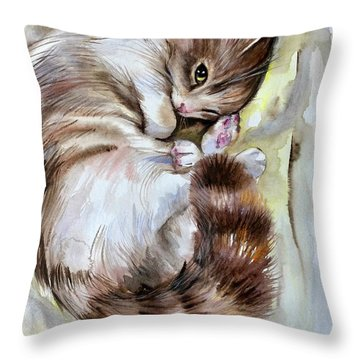 Sleepy Cat 2 Throw Pillow