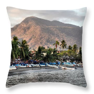 Sleepy Fishing Village Throw Pillow