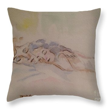 Throw Pillow featuring the painting Sleepy Heads by Denise Tomasura