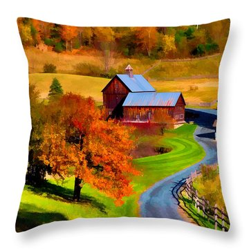 Throw Pillow featuring the photograph Digital Painting Of Sleepy Hollow Farm by Jeff Folger