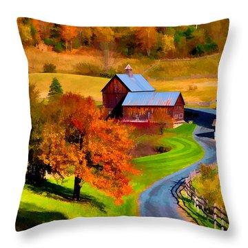 Digital Painting Of Sleepy Hollow Farm Throw Pillow