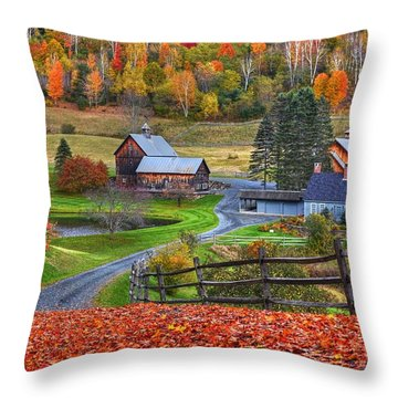 Sleepy Hollows Farm Woodstock Vermont Vt Autumn Bright Colors Throw Pillow