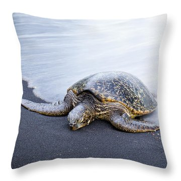 Sleepy Honu Throw Pillow