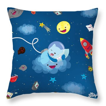 Sleepy In Space Throw Pillow by Seedys