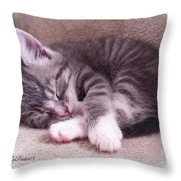 Sleepy Kitten Bymaryleeparker Throw Pillow