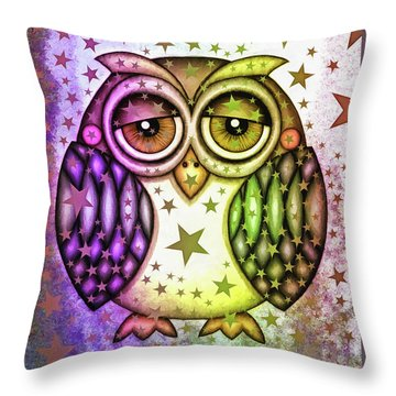 Throw Pillow featuring the photograph Sleepy Owl With Stars by Matthias Hauser