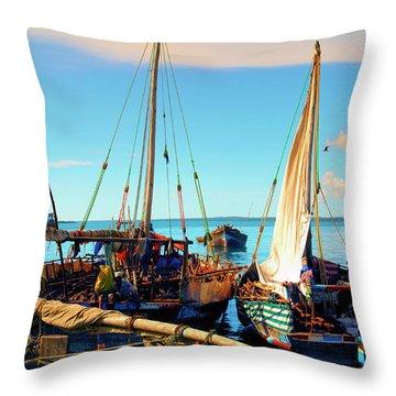 Sleepy Sail Boats Zanzibar Throw Pillow