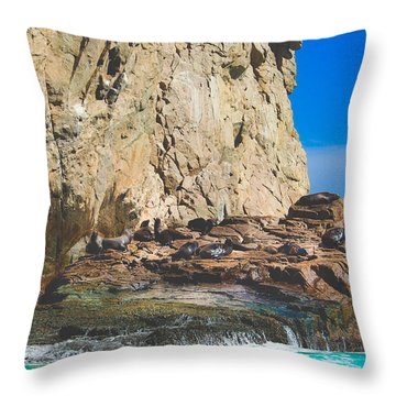 Sleepy Sea Lions Throw Pillow