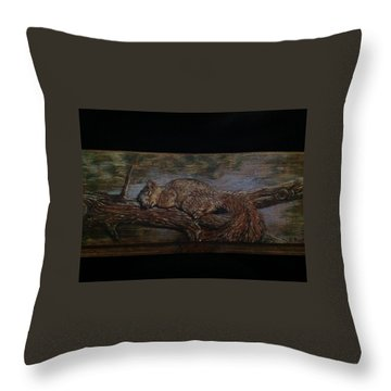 Sleepy Squirrel Throw Pillow