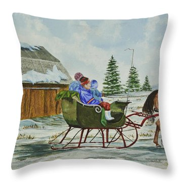 Sleigh Ride Throw Pillow by Charlotte Blanchard