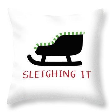 Sleighing It- Art By Linda Woods Throw Pillow