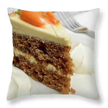 Throw Pillow featuring the photograph Slice Of Carrot Cake With Cream A by Jacek Wojnarowski