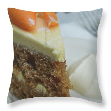 Throw Pillow featuring the photograph Slice Of Carrot Cake With Cream B by Jacek Wojnarowski