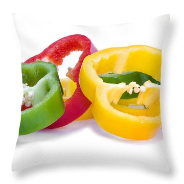 Sliced Colorful Peppers Throw Pillow by Meirion Matthias