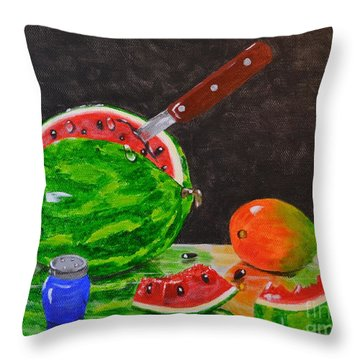 Sliced Melon Throw Pillow by Melvin Turner