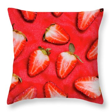 Sliced Red Strawberry Background Throw Pillow