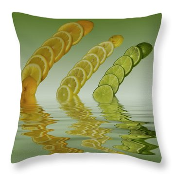 Throw Pillow featuring the photograph Slices  Grapefruit Lemon Lime Citrus Fruit by David French