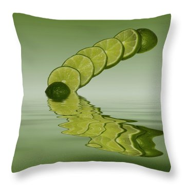 Throw Pillow featuring the photograph Slices Lime Citrus Fruit by David French