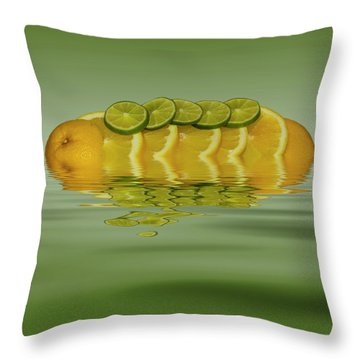Throw Pillow featuring the photograph Slices Orange Lime Citrus Fruit by David French