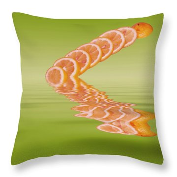 Throw Pillow featuring the photograph Slices Pink Grapefruit Citrus Fruit by David French