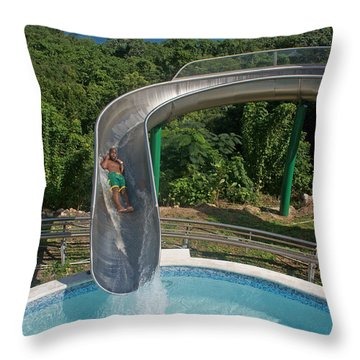 Slide With A View  Throw Pillow