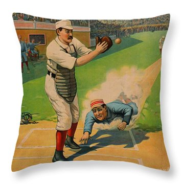 Sliding Home 1897 Throw Pillow by Padre Art