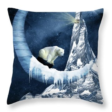 Sliding On The Moon Throw Pillow by Mihaela Pater