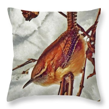 Slim Pickens, Carolina Wren Throw Pillow