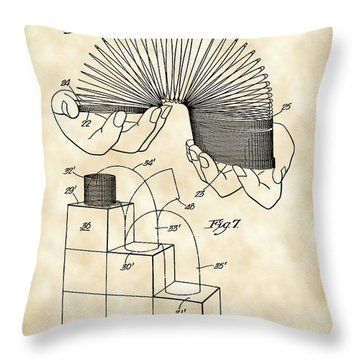 Slinky Patent 1946 - Vintage Throw Pillow by Stephen Younts