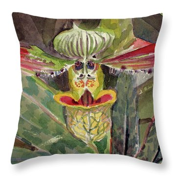 Throw Pillow featuring the painting Slipper Foot Aladdin by Mindy Newman