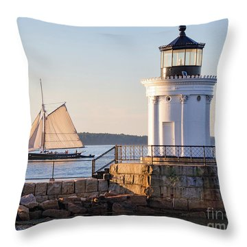 Throw Pillow featuring the photograph Sloop And Lighthouse, South Portland, Maine  -56170 by John Bald