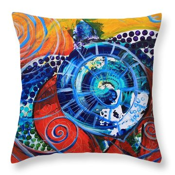 Slopical Tropical Sea Turtle Throw Pillow