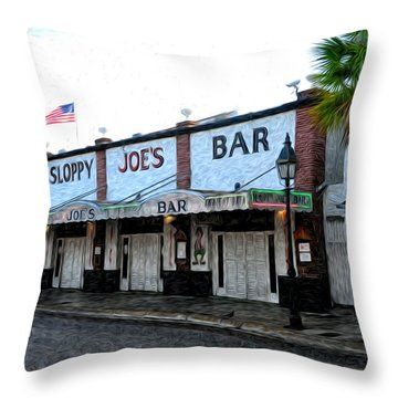 Sloppy Joe's Bar Key West Throw Pillow by Bill Cannon
