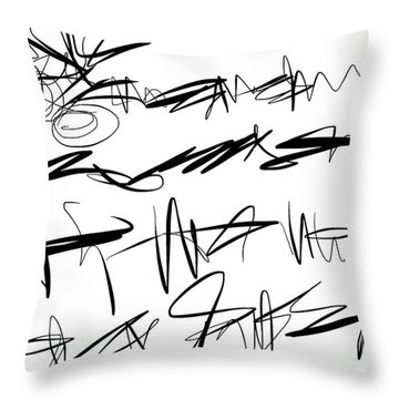 Throw Pillow featuring the painting Sloppy Writing by Go Van Kampen