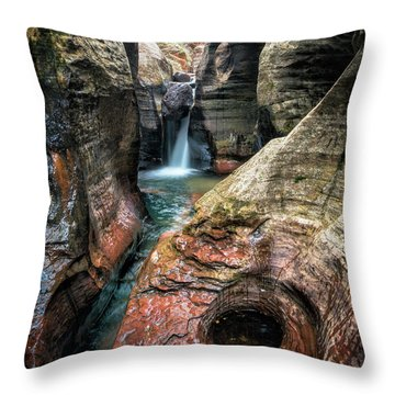 Slot Canyon Waterfall At Zion National Park Throw Pillow