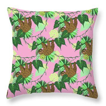 Sloth - Green On Pink Throw Pillow