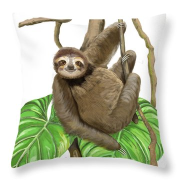 Throw Pillow featuring the mixed media Hanging Three Toe Sloth  by Thomas J Herring