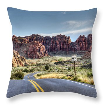 Slow Down In Snow Canyon Throw Pillow