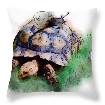 Throw Pillow featuring the painting Slow Down You Will Kill Us Both by Mark Taylor