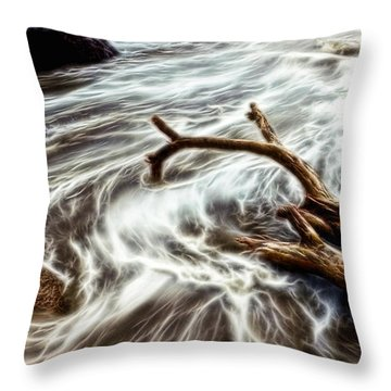 Slow Motion Sea Throw Pillow by Cameron Wood