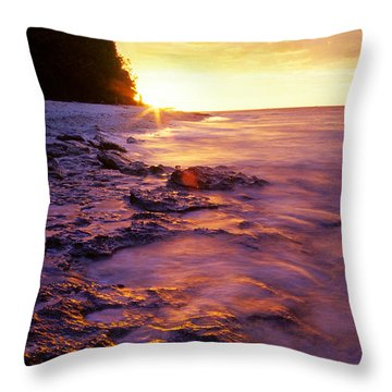 Slow Ocean Sunset Throw Pillow